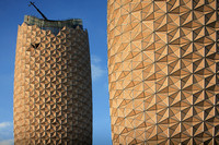 The Al Bahar Towers (under construction), Abu Dhabi, UAE, designed by Aedas for the Abu Dhabi Investment Council (ADIC)