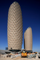 The Al Bahar Towers under construction, Abu Dhabi, UAE, designed by Aedas for the Abu Dhabi Investment Council (ADIC)