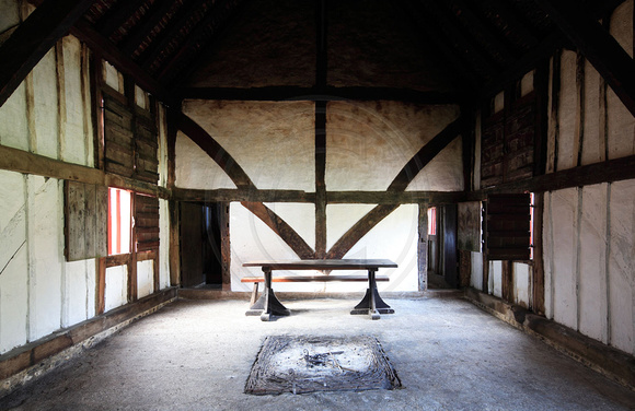The interior of a 15th-century hall house originally from North Cray, Greater London